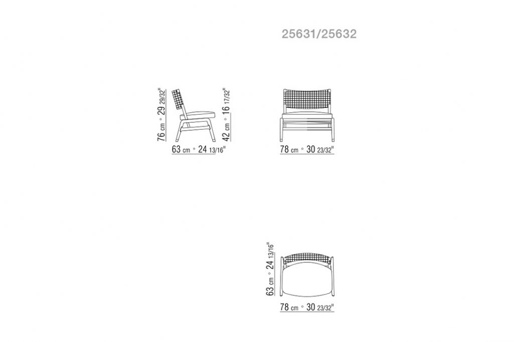 line drawing and dimensions for flexform ortigia armchair without armrests