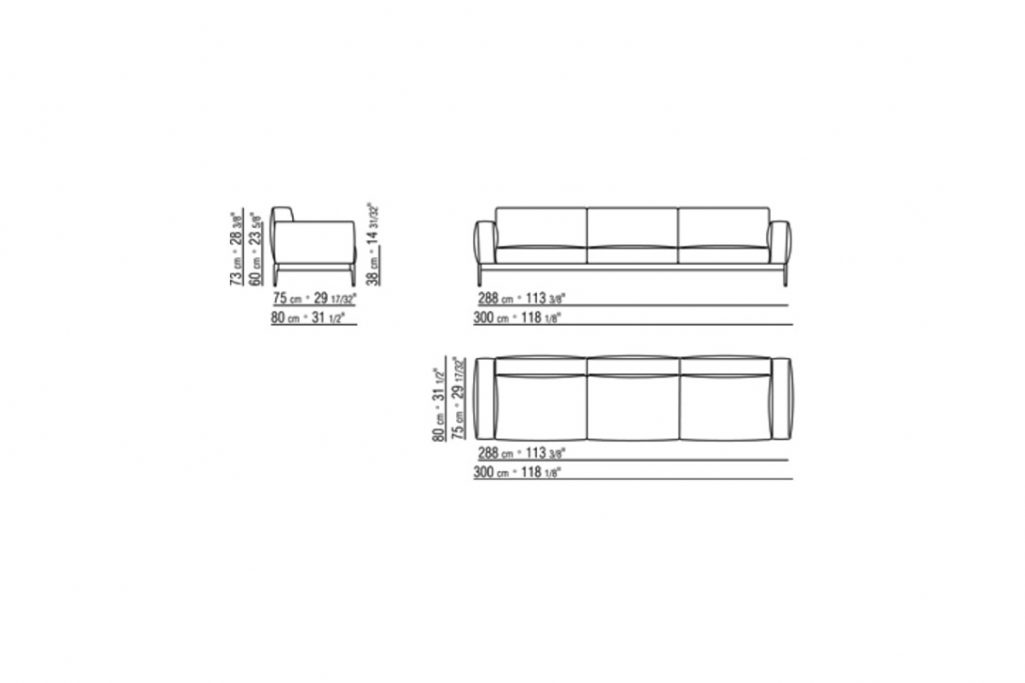 """line drawing and dimensions for a flexform romeo compact sofa 118"""""""