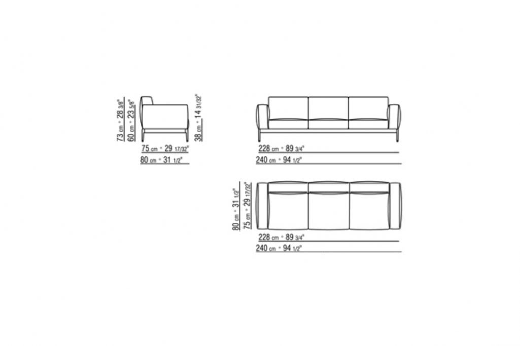 """line drawing and dimensions for a flexform romeo compact sofa 94"""""""