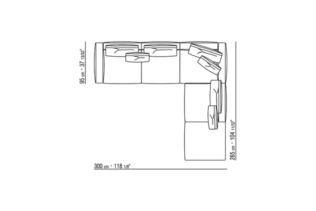 """line drawing and dimensions for a flexform romeo sectional sofa 118"""""""