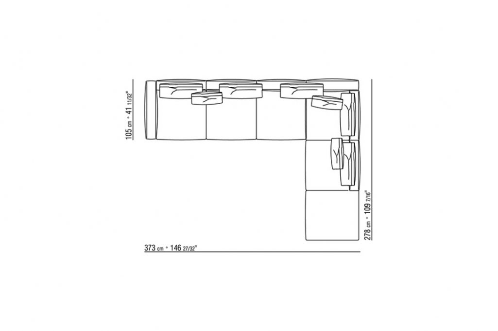 """line drawing and dimensions for a flexform romeo sectional sofa 146"""""""