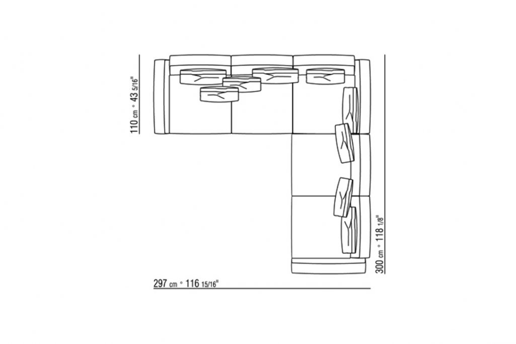 line drawing and dimensions for a flexform soft dream large sofa