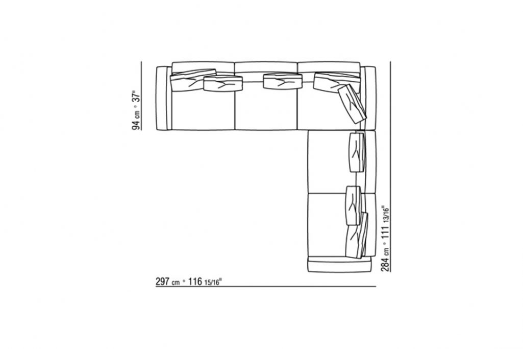 line drawing and dimensions for a flexform soft dream sofa
