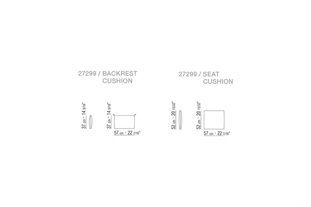 line drawing and dimensions for flexform tessa armchair cushions