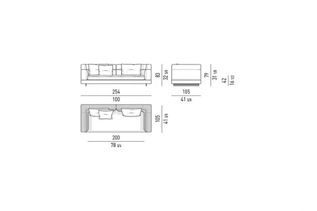 """line drawing and dimensions for a minotti alexander 100"""" sofa high back"""