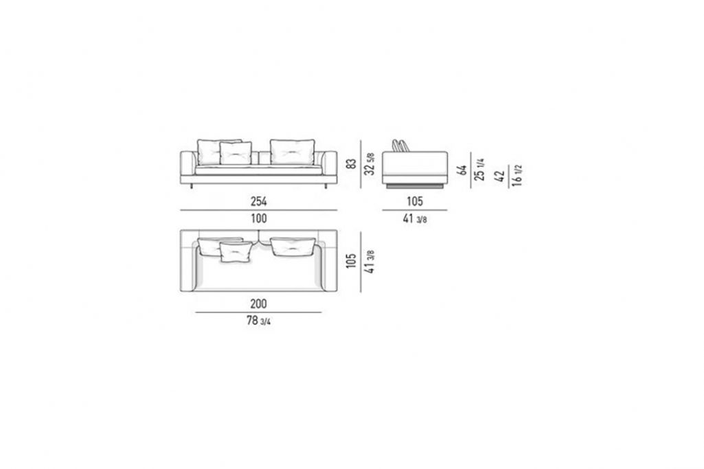 """line drawing and dimensions for a minotti alexander 100"""" sofa low back"""