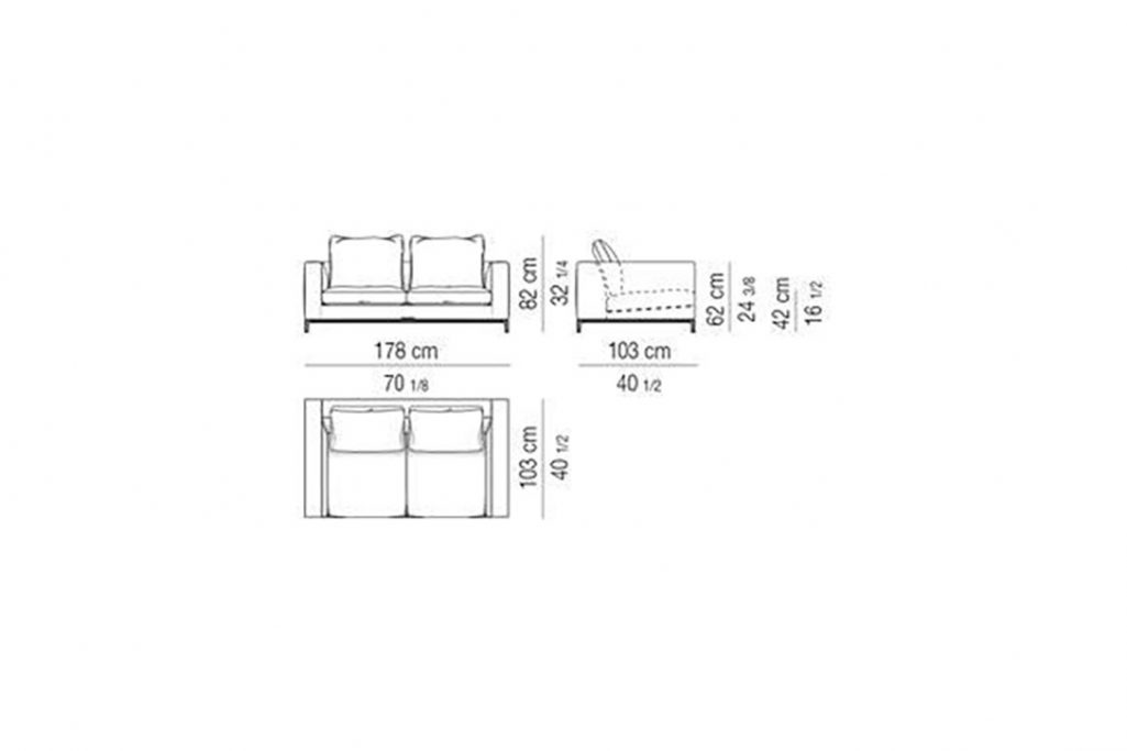 """line drawing and dimensions for minotti andersen sofa 70"""""""