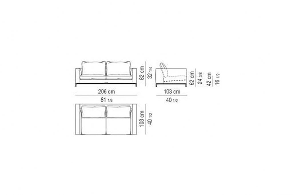 """line drawing and dimensions for minotti andersen sofa 81"""""""