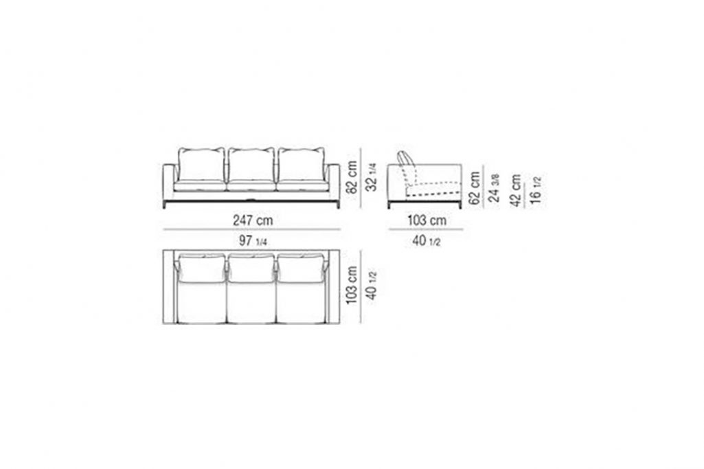 """line drawing and dimensions for minotti andersen sofa 97"""""""