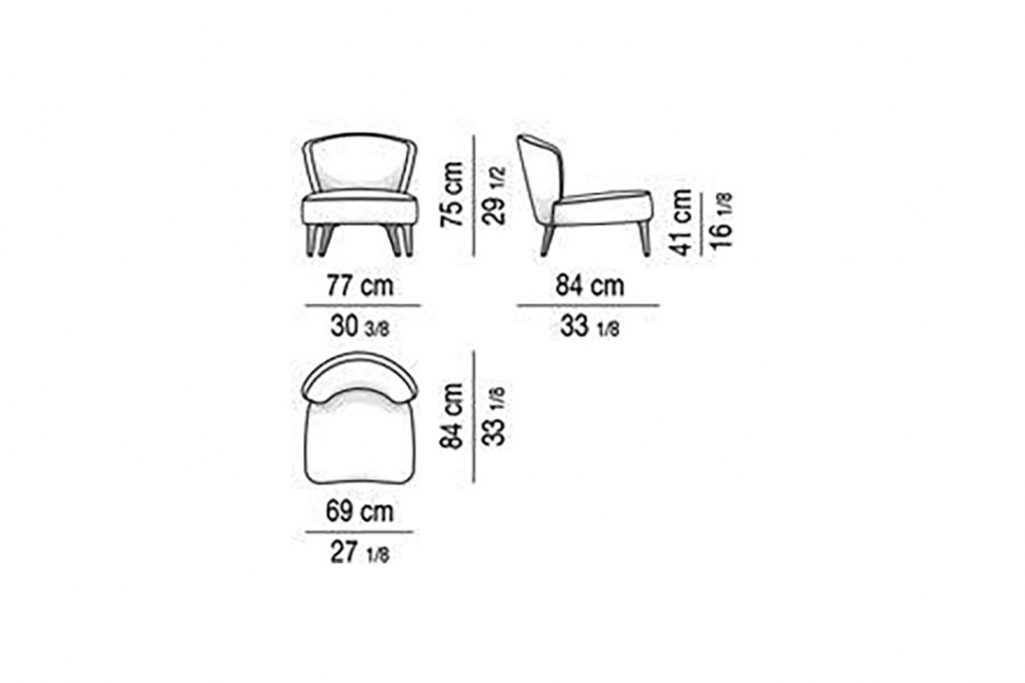 line drawing and dimensions for minotti aston armchair without armrests