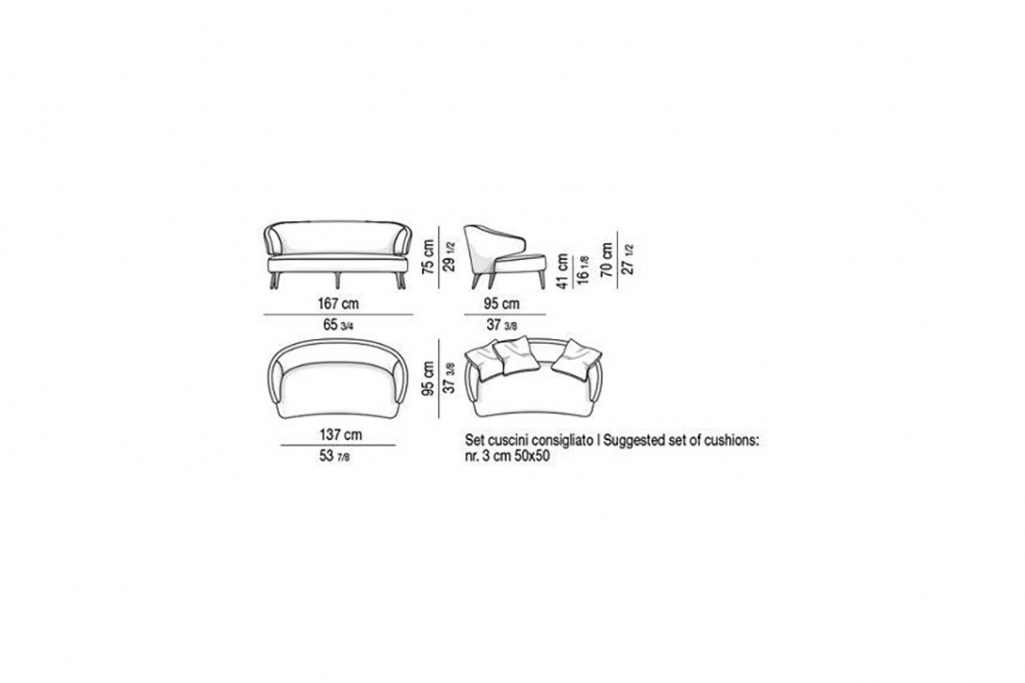 line drawing and dimensions for a minotti aston sofa