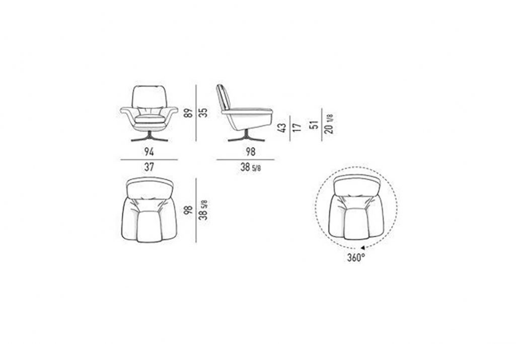 line drawing and dimensions for minotti blake-soft armchair