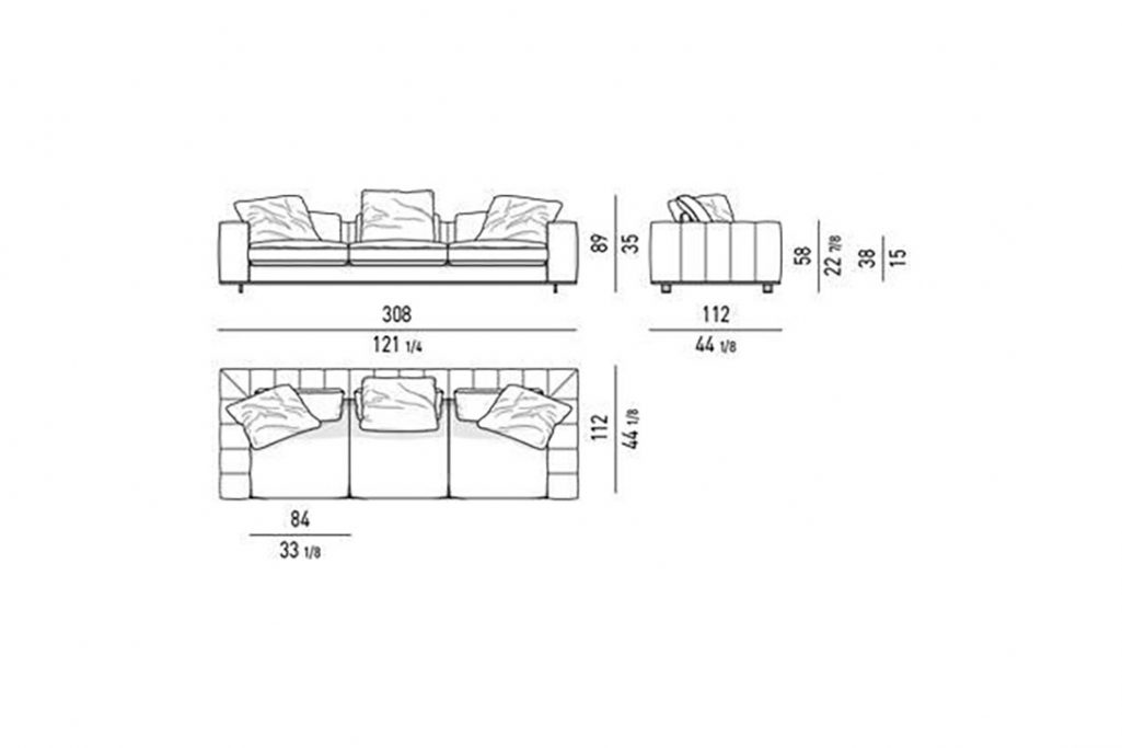 """line drawing and dimensions for minotti freeman duvet sofa 121"""""""