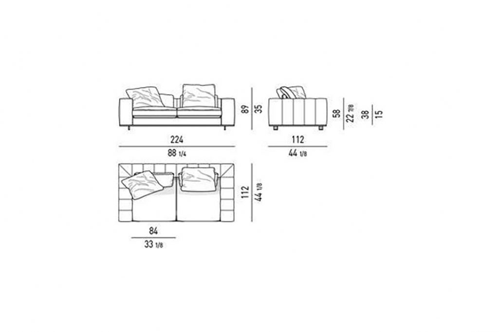 """line drawing and dimensions for minotti freeman duvet sofa 88"""""""
