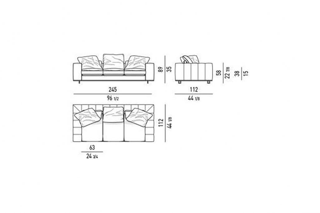 """line drawing and dimensions for minotti freeman duvet sofa 96"""""""