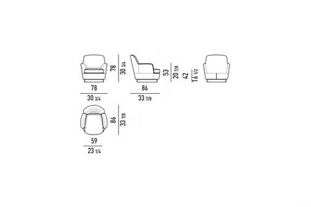 line drawing and dimensions for minotti jacques high armchair fixed