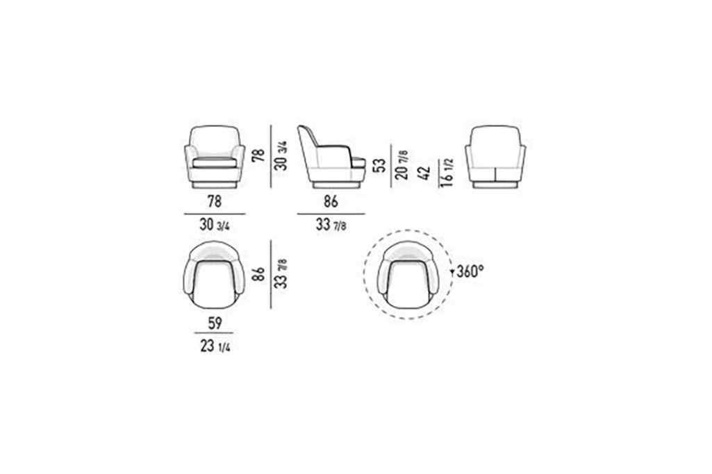 line drawing and dimensions for minotti jacques high armchair swivel