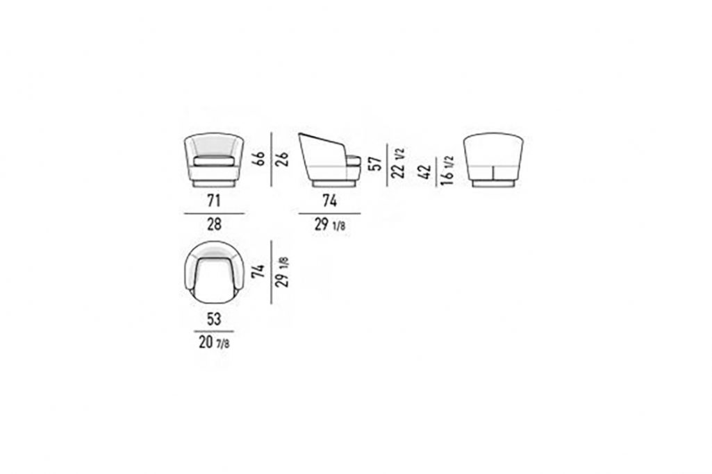 line drawing and dimensions for minotti jacques low armchair fixed