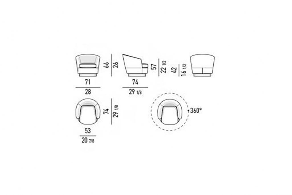 line drawing and dimensions for minotti jacques low armchair swivel
