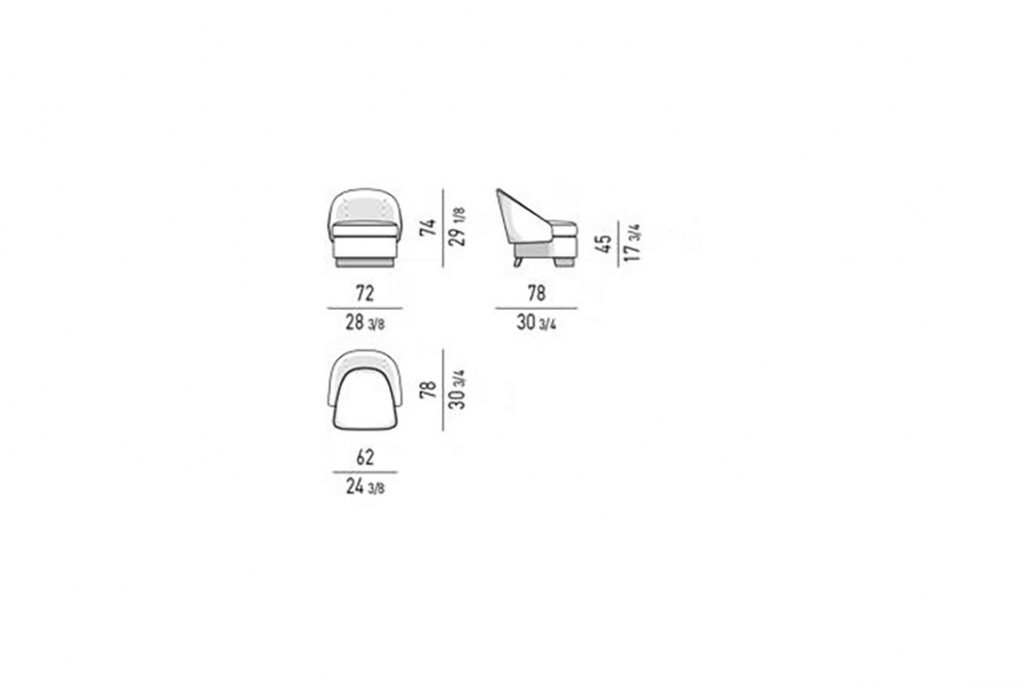 line drawing and dimensions for minotti lawson armchair