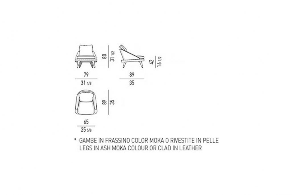 line drawing and dimensions for minotti lawson armchair with wood legs