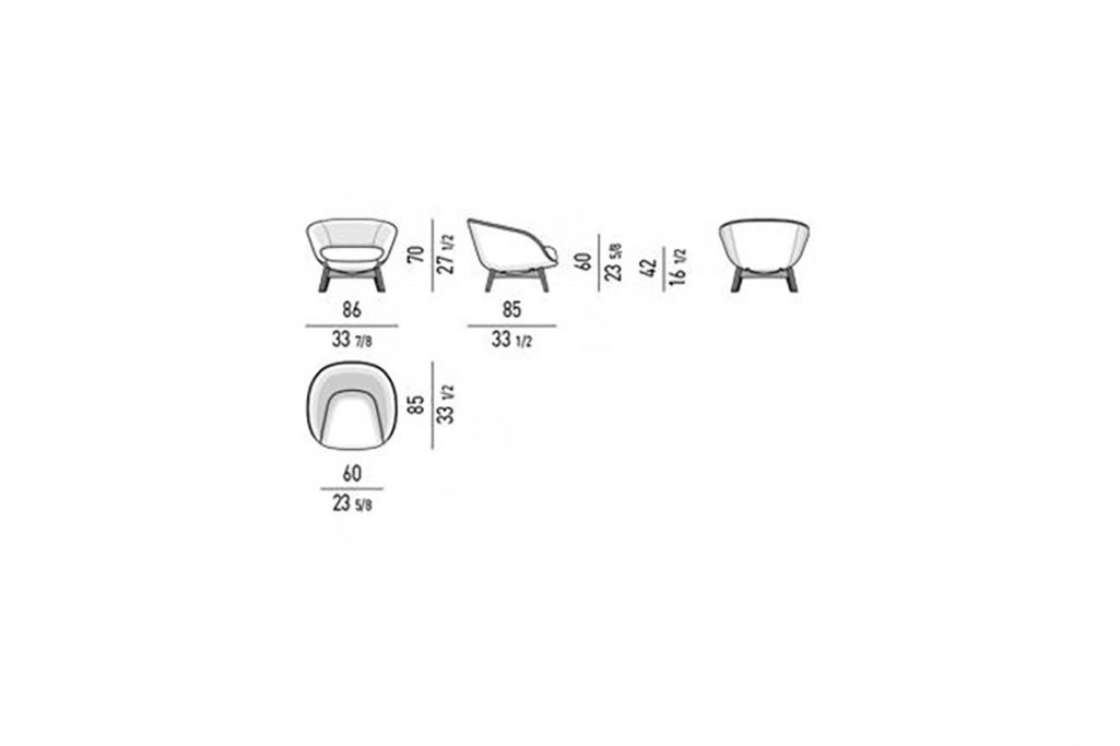 line drawing and dimensions for minotti russel armchair fixed