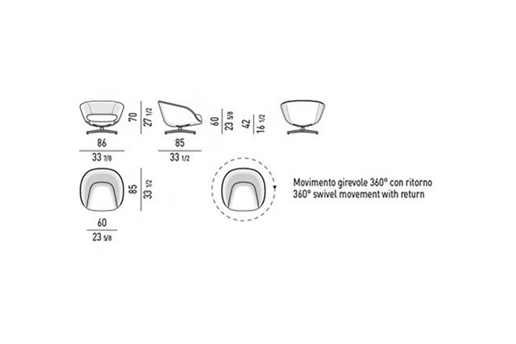 line drawing and dimensions for minotti russel armchair swivel