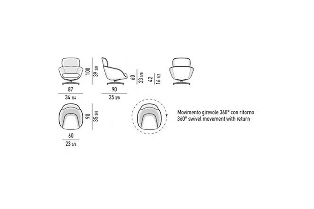 line drawing and dimensions for minotti russel bergère swivel