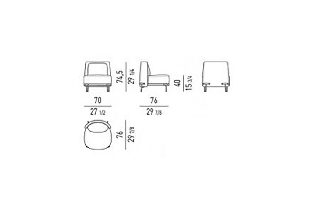 line drawing and dimensions for minotti tape armchair