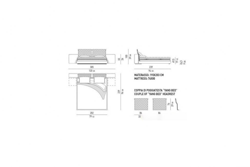 line drawing and dimensions for minotti yang bed offset king