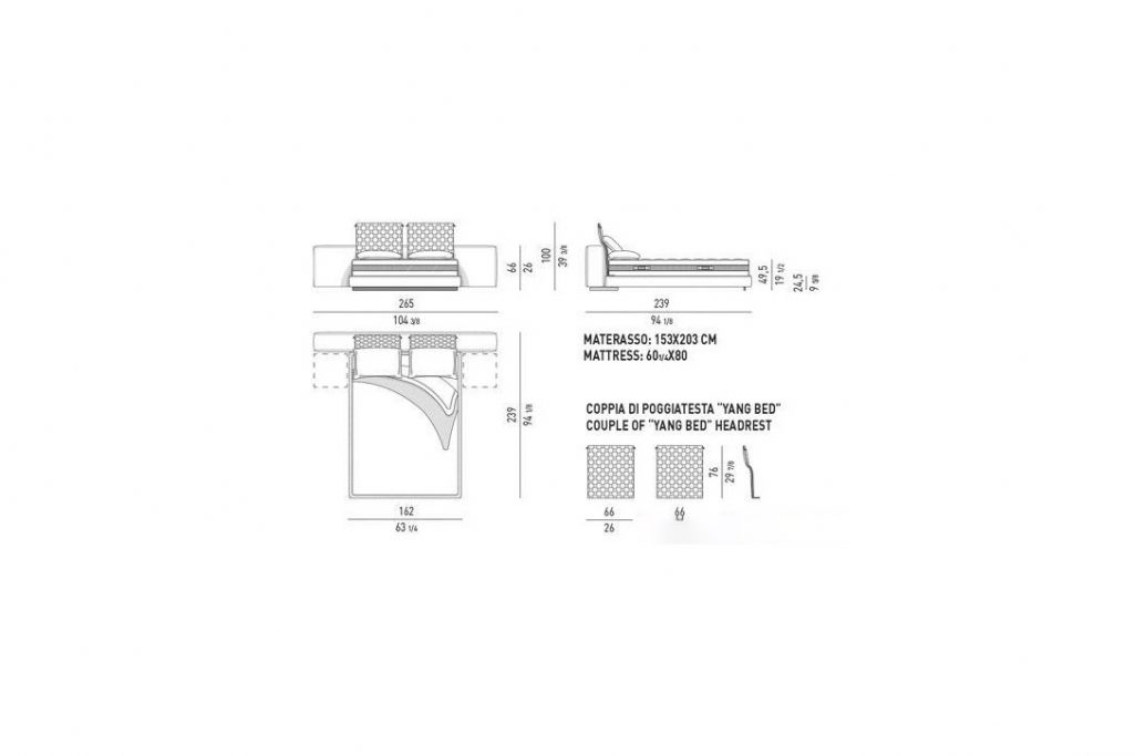 line drawing and dimensions for minotti yang bed offset queen