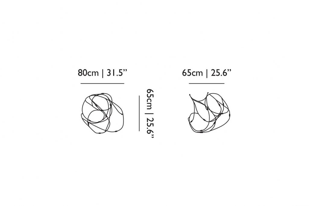 line drawing and dimensions for moooi flock of light pendant 11