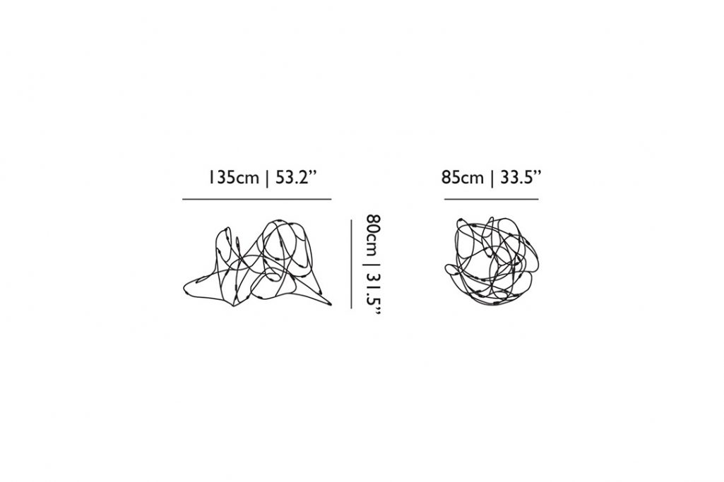 line drawing and dimensions for moooi flock of light pendant 21