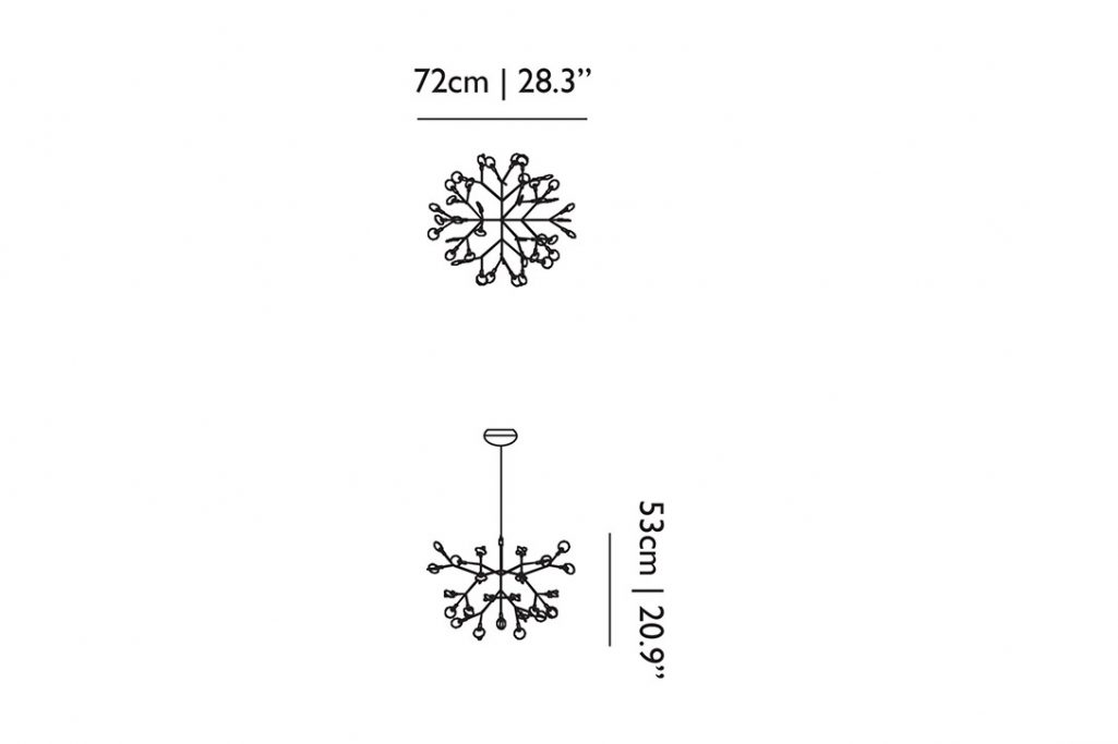 line drawings and dimensions for a moooi heracleum II suspended pendant light small