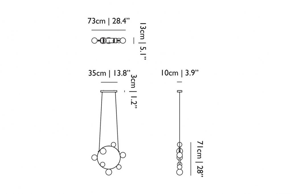 line drawing and dimensions for moooi hubble bubble pendant light 7