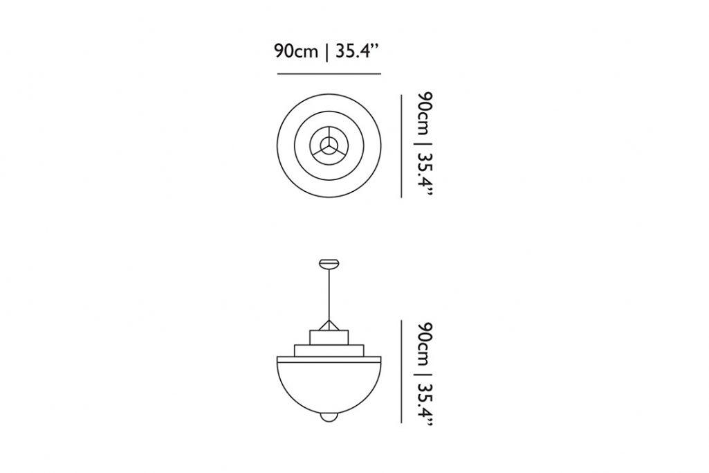 line drawing and dimensions for moooi meshmatics pendant light large
