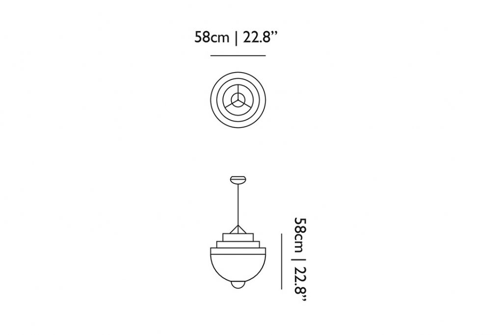 line drawing and dimensions for moooi meshmatics pendant light small