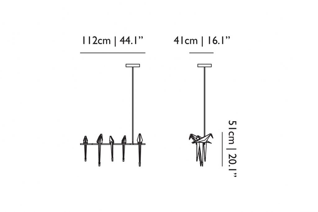 line drawing and dimensions for moooi perch light branch pendant large