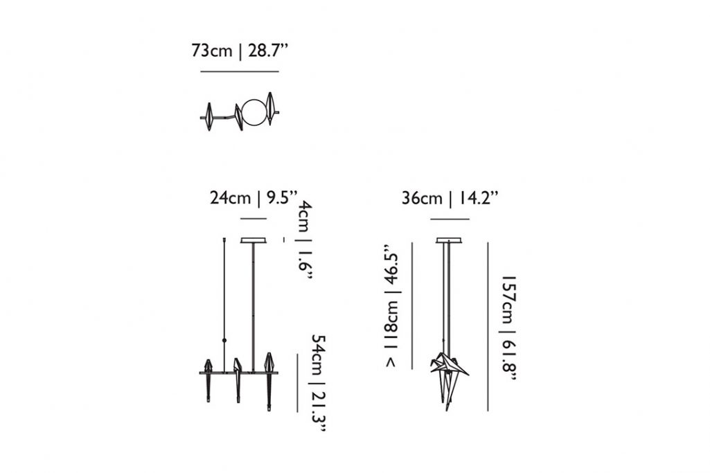 line drawing and dimensions for moooi perch light branch pendant small