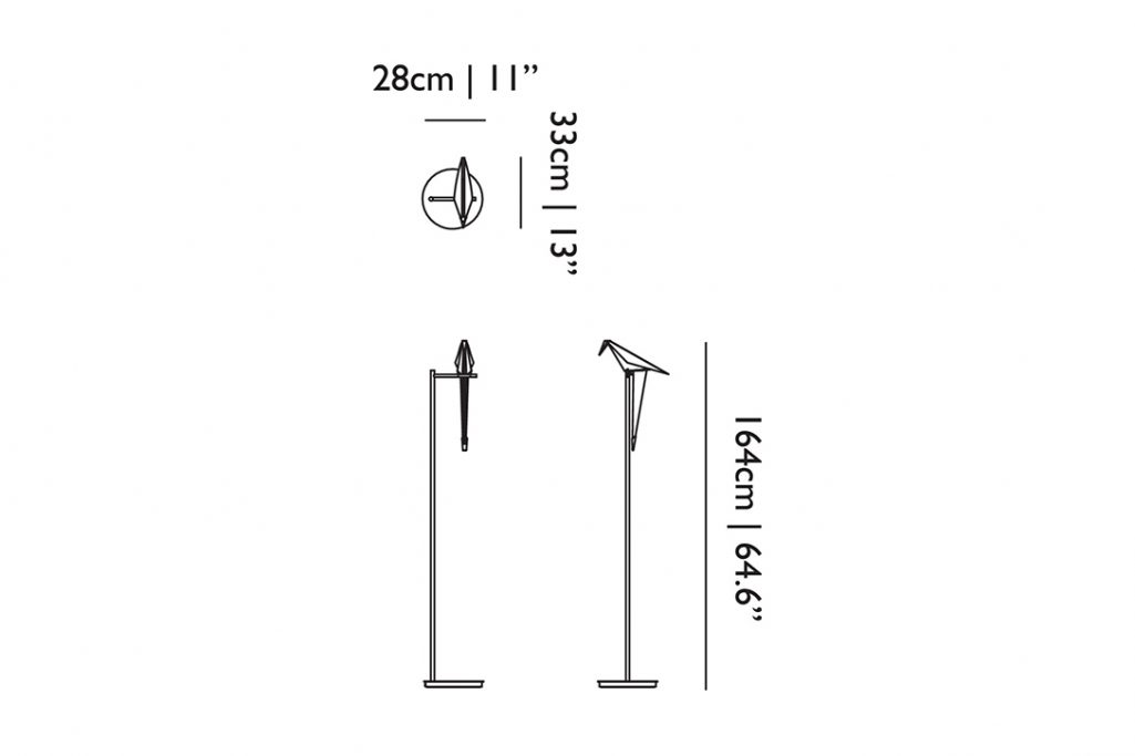 line drawing and dimensions for moooi perch light floor lamp