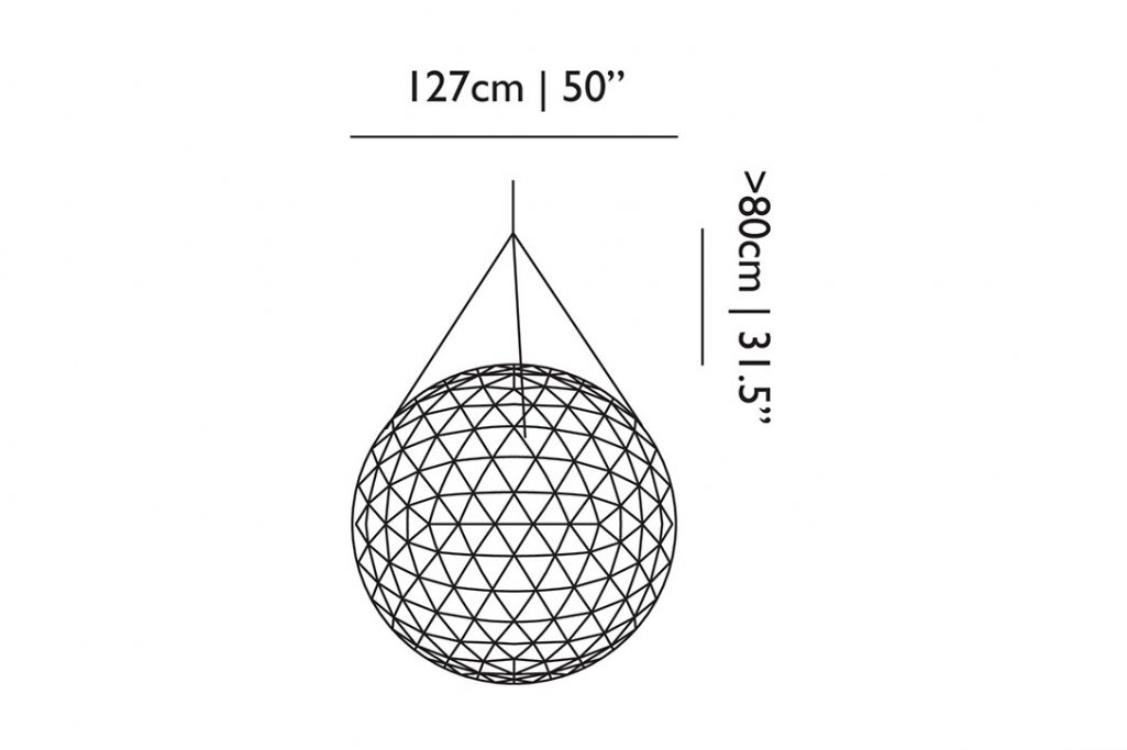 line drawing and dimensions for moooi raimond r127 pendant light