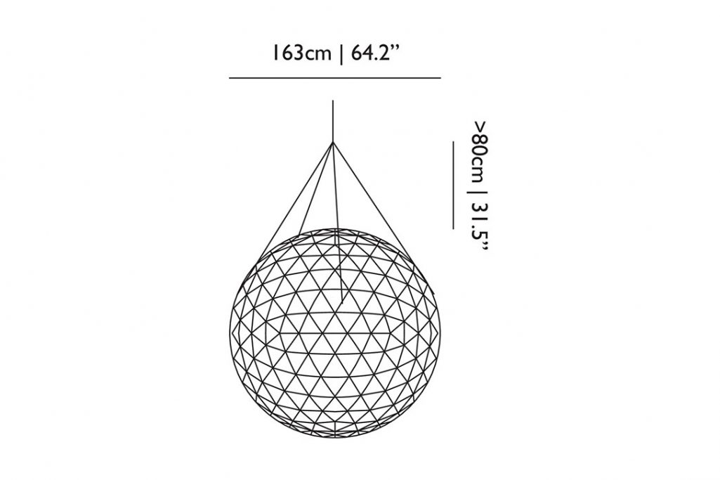 line drawing and dimensions for moooi raimond r163 pendant light