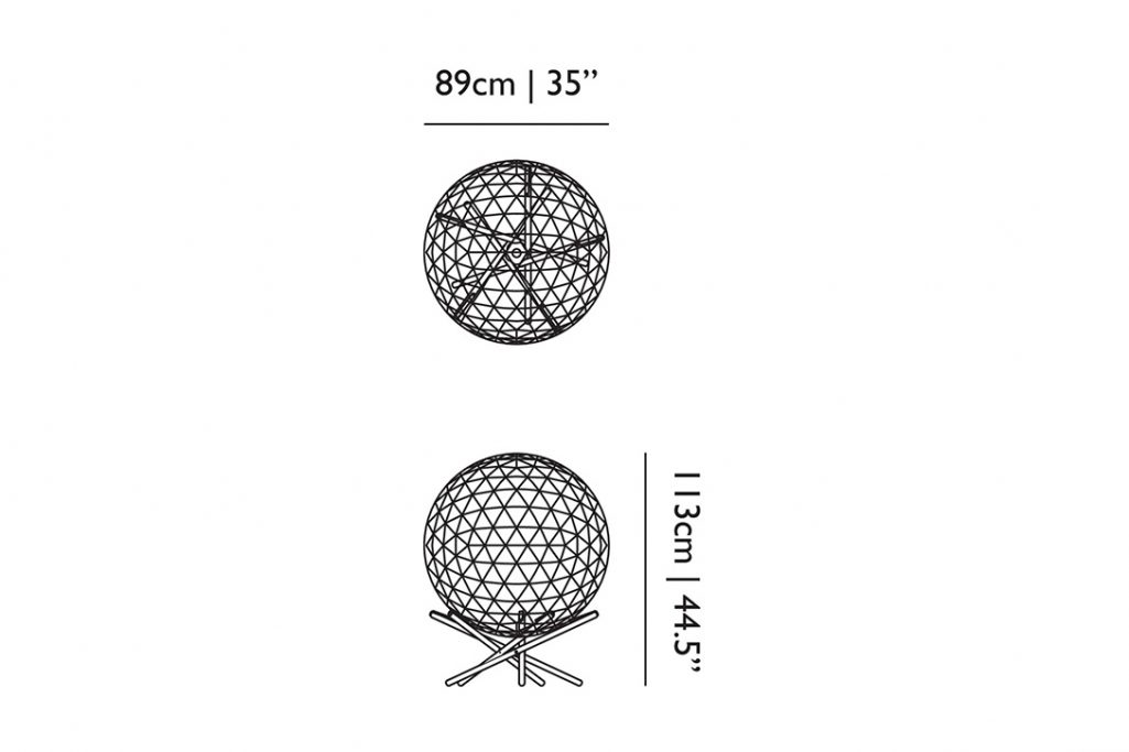 line drawing and dimensions for moooi raimond tensegrity floor lamp r89