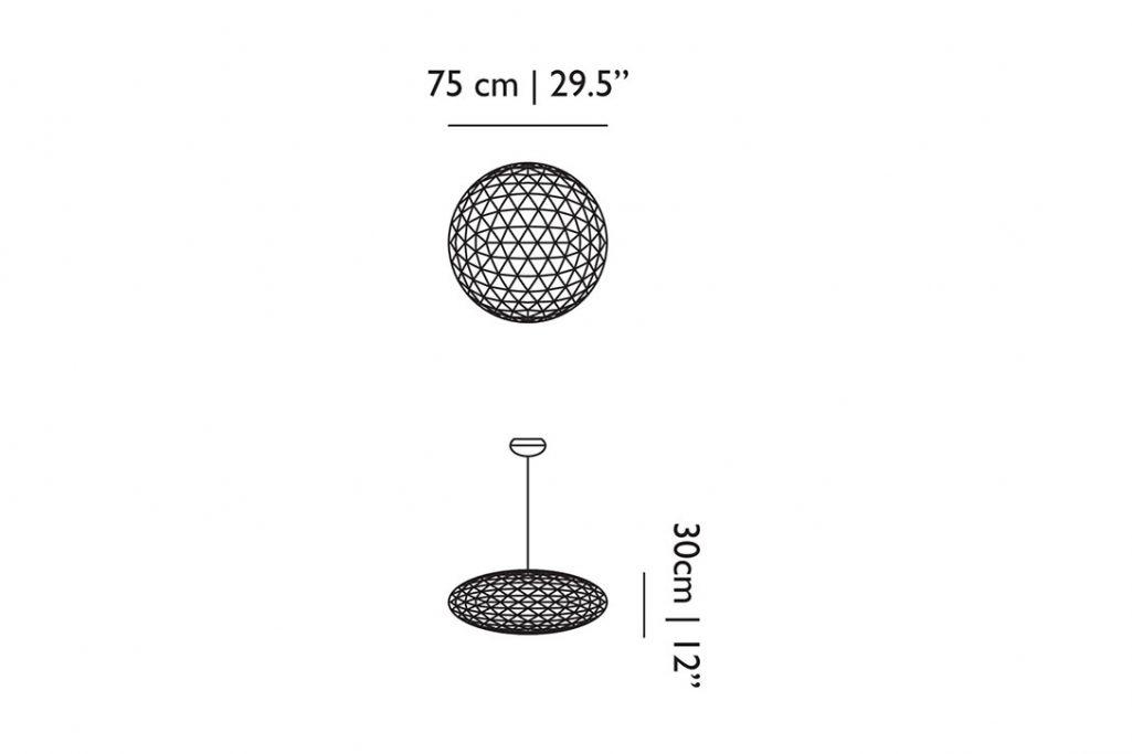 line drawing and dimensions for moooi raimond zafu pendant light