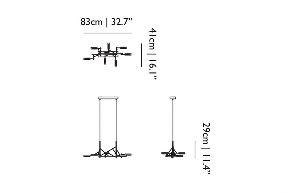 line drawing and dimensions for moooi tinkering pendant light 85