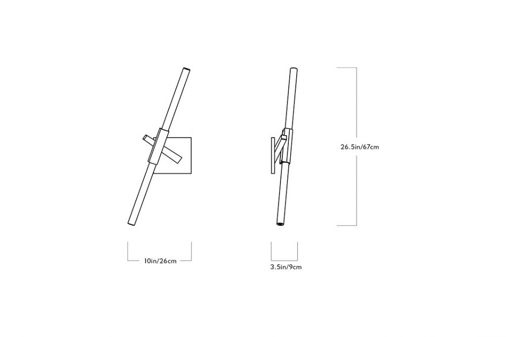 line drawing and dimensions for a roll & hill agnes sconce 2