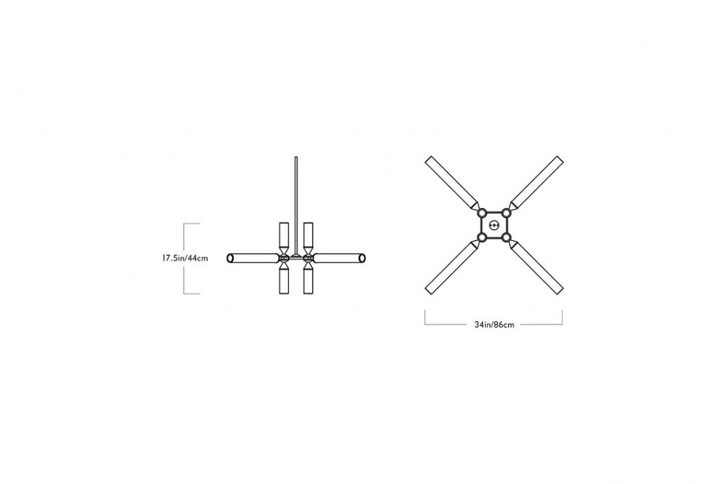 line drawing and dimensions for a roll and hill castle pendant 12-01