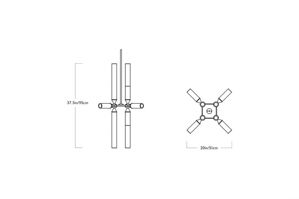 line drawing and dimensions for a roll and hill castle pendant 12-03