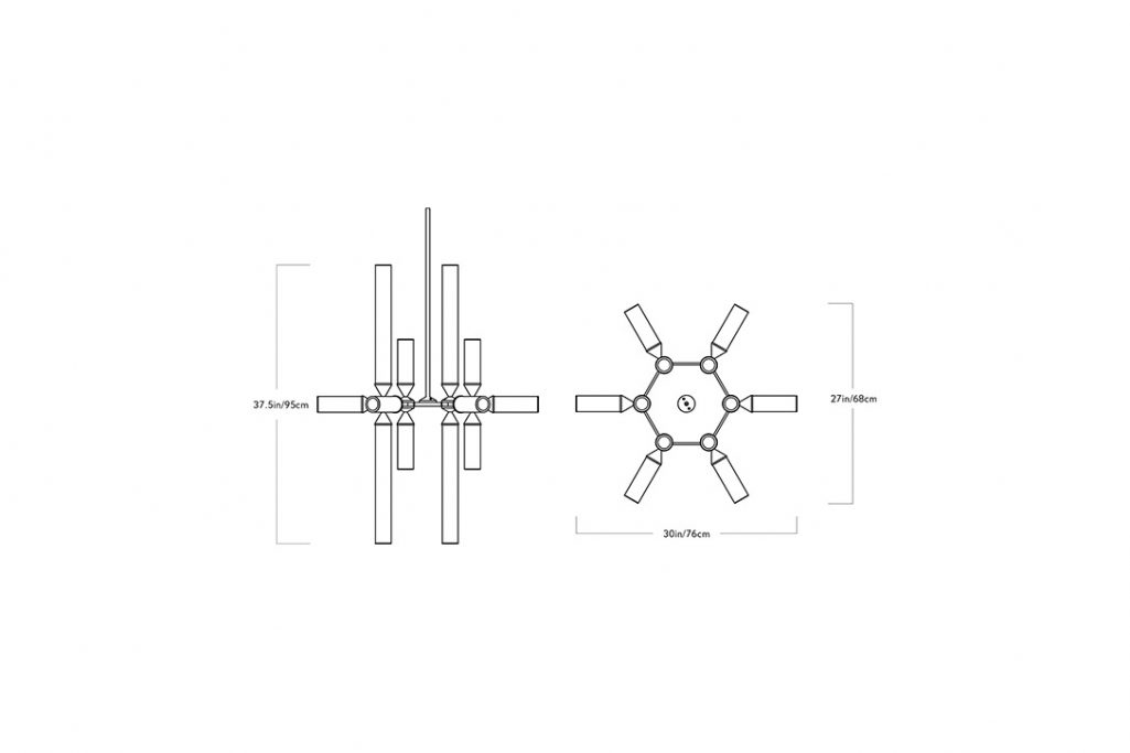 line drawing and dimensions for a roll and hill castle pendant 18-03