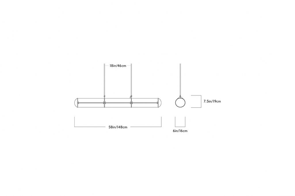 line drawing and dimensions for roll & hill endless pendant 3 units